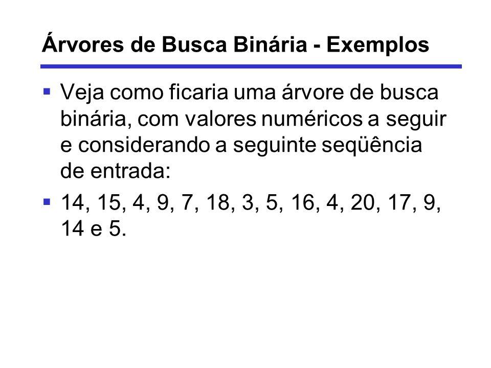 Árvores de Busca Binária - Exemplos