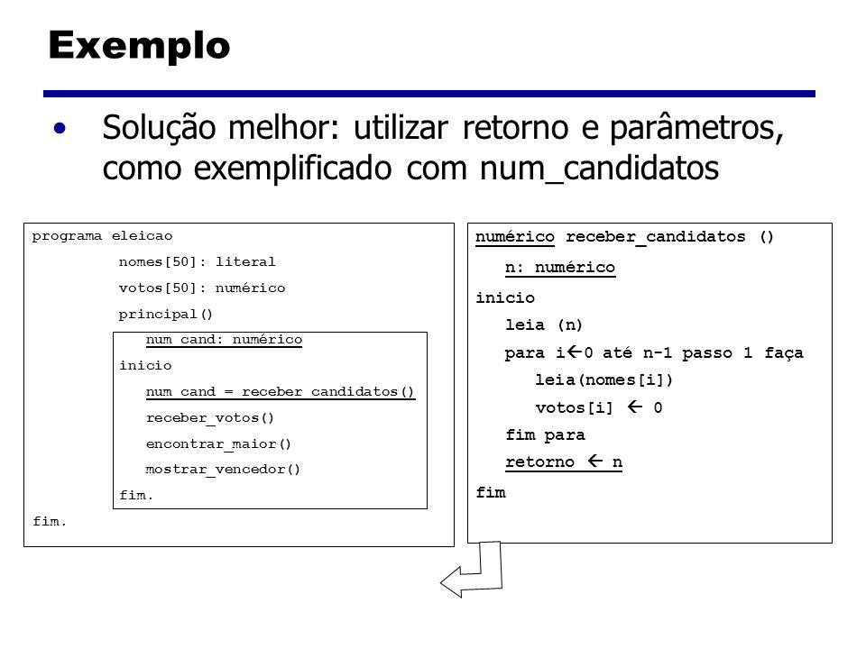 Exemplo Solução melhor: utilizar retorno e parâmetros, como exemplificado com num_candidatos. programa eleicao.