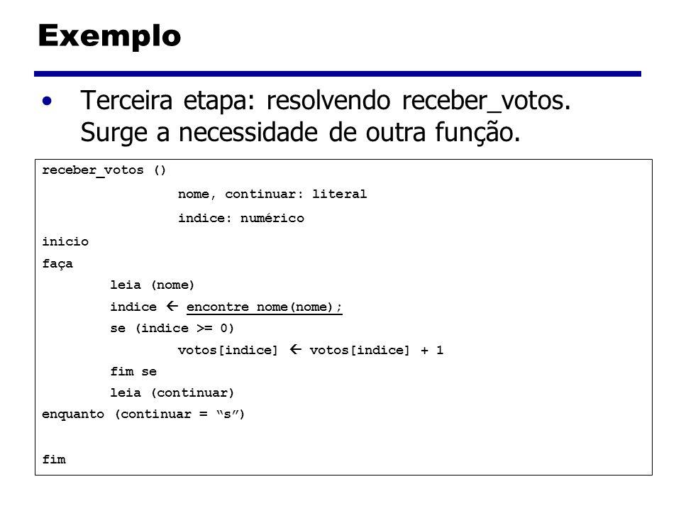 Exemplo Terceira etapa: resolvendo receber_votos. Surge a necessidade de outra função. receber_votos ()