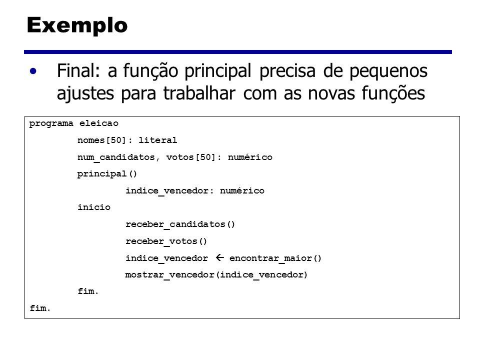 Exemplo Final: a função principal precisa de pequenos ajustes para trabalhar com as novas funções. programa eleicao.