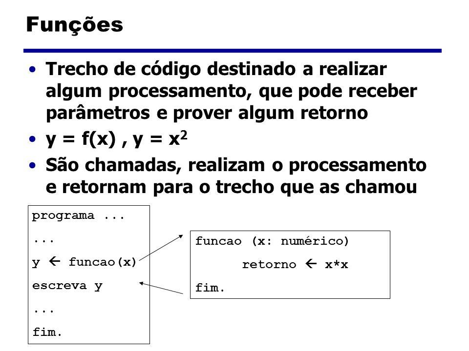 Funções Trecho de código destinado a realizar algum processamento, que pode receber parâmetros e prover algum retorno.