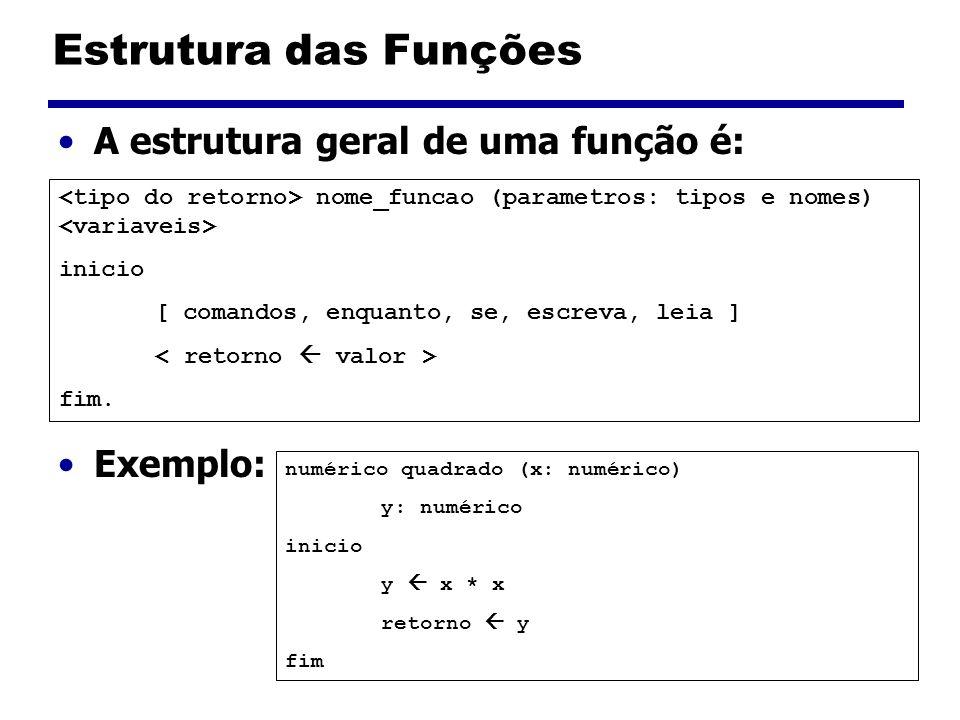 Estrutura das Funções A estrutura geral de uma função é: Exemplo: