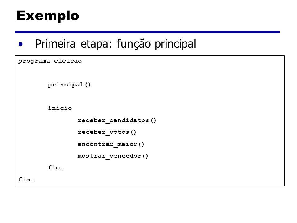 Exemplo Primeira etapa: função principal programa eleicao principal()