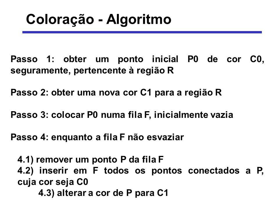 Coloração - Algoritmo Passo 1: obter um ponto inicial P0 de cor C0, seguramente, pertencente à região R.