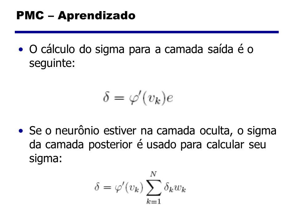 PMC – Aprendizado O cálculo do sigma para a camada saída é o seguinte: