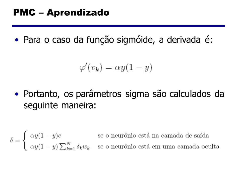 PMC – Aprendizado Para o caso da função sigmóide, a derivada é: Portanto, os parâmetros sigma são calculados da seguinte maneira: