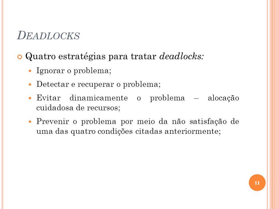 Deadlocks Quatro estratégias para tratar deadlocks: