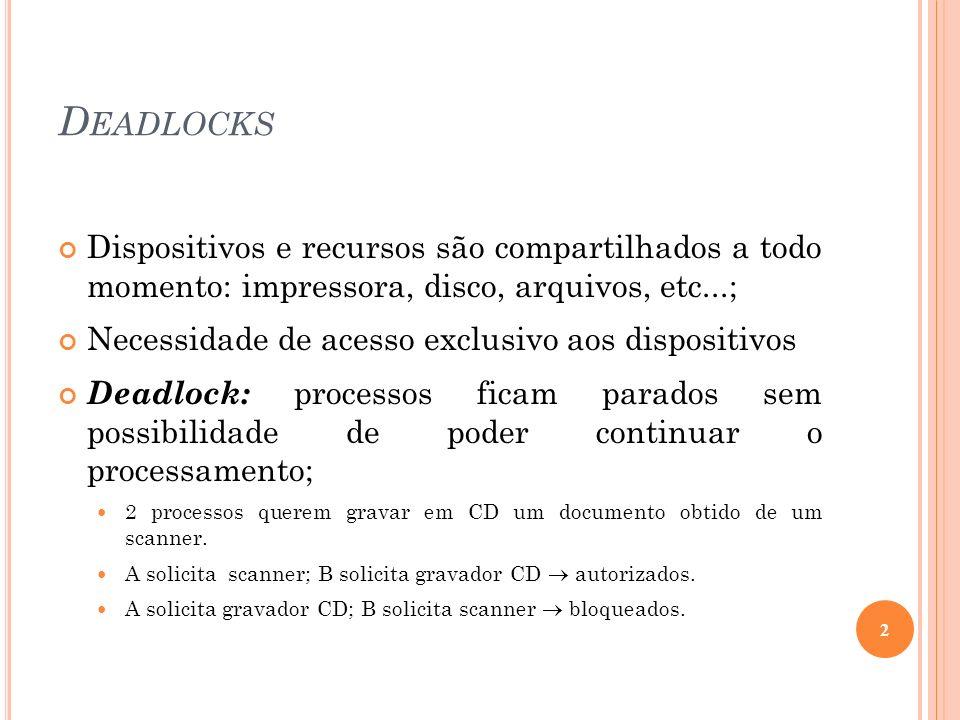 DeadlocksDispositivos e recursos são compartilhados a todo momento: impressora, disco, arquivos, etc...;