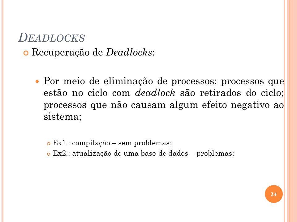 Deadlocks Recuperação de Deadlocks: