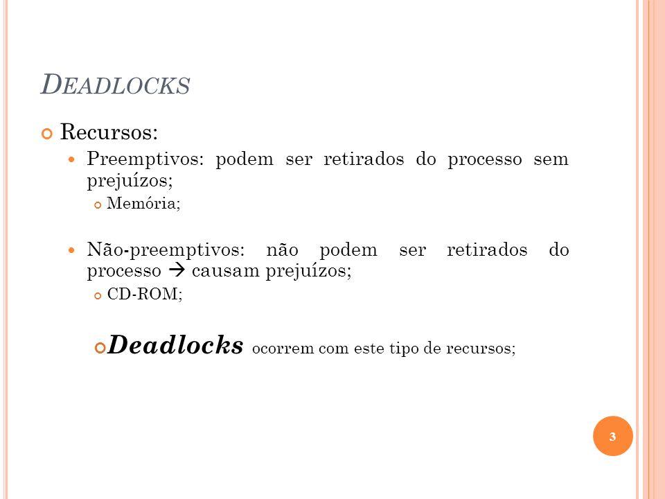 Deadlocks Deadlocks ocorrem com este tipo de recursos; Recursos: