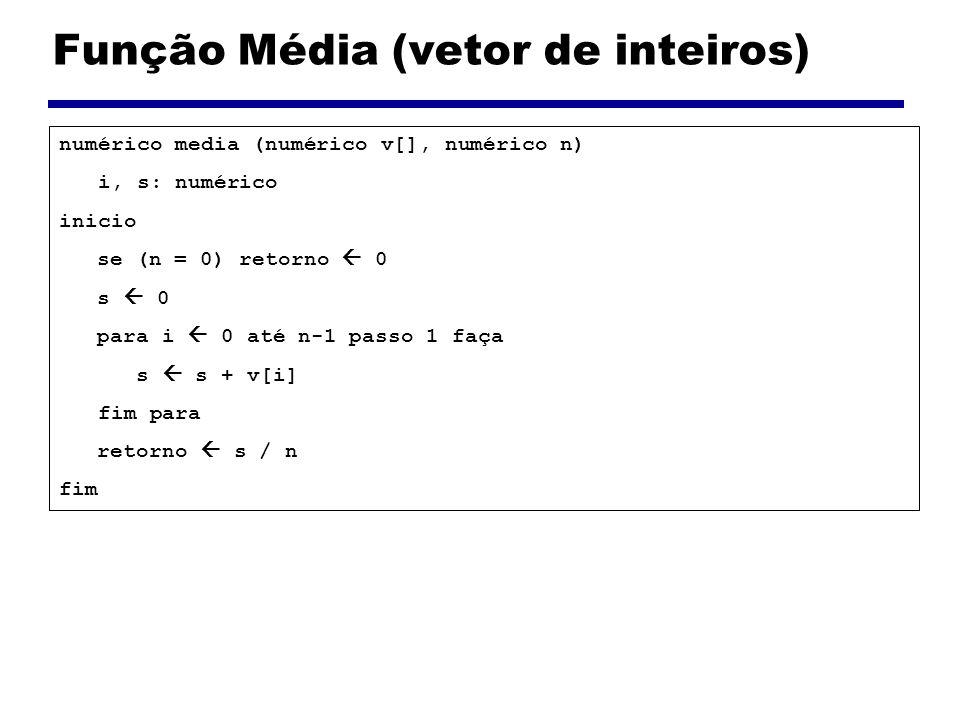 Função Média (vetor de inteiros)