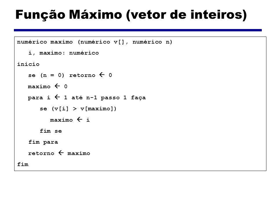 Função Máximo (vetor de inteiros)