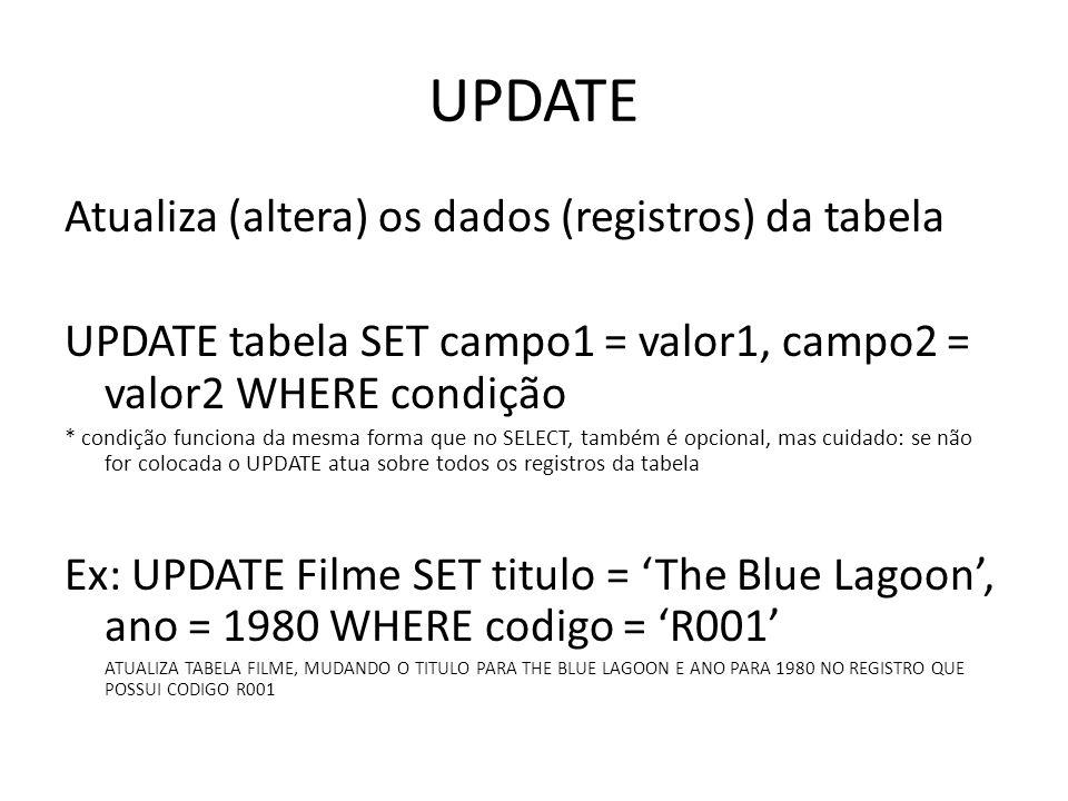 UPDATE Atualiza (altera) os dados (registros) da tabela