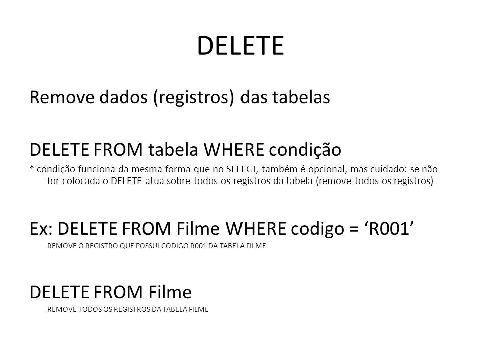DELETE Remove dados (registros) das tabelas
