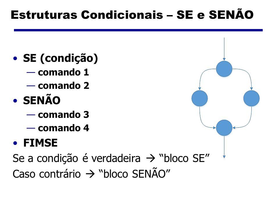 Estruturas Condicionais – SE e SENÃO