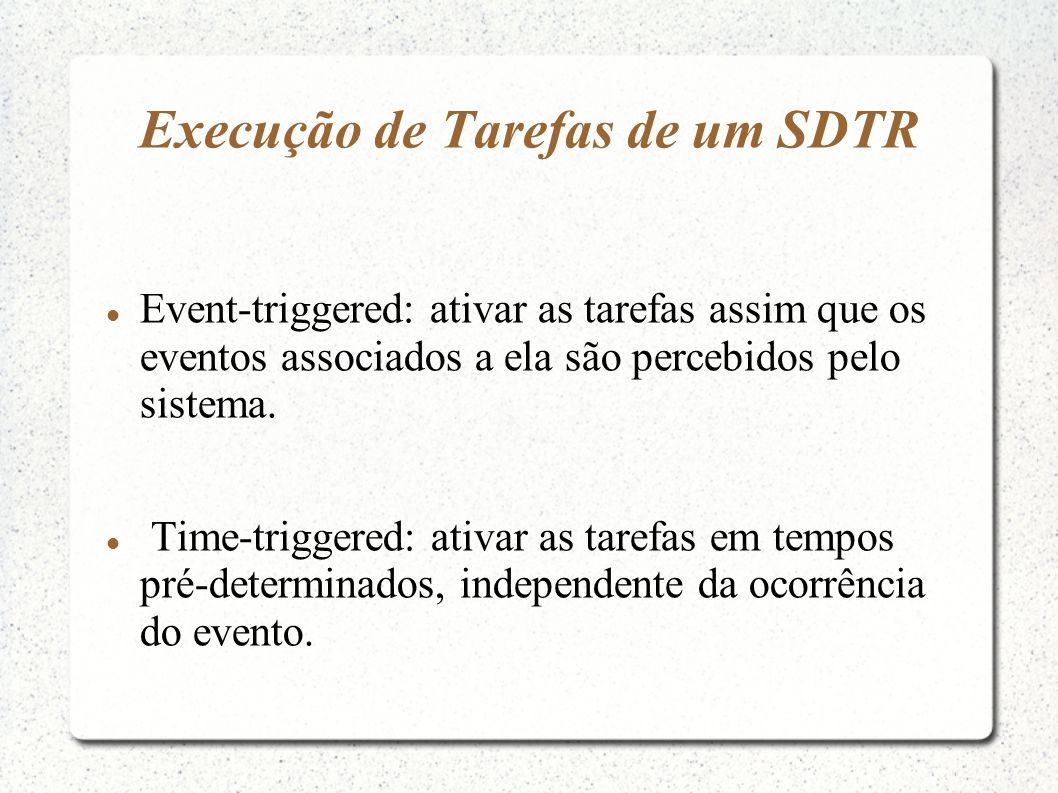 Execução de Tarefas de um SDTR