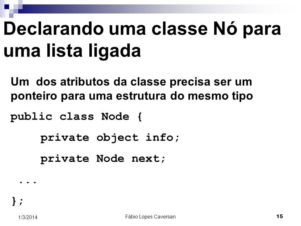Declarando uma classe Nó para uma lista ligada