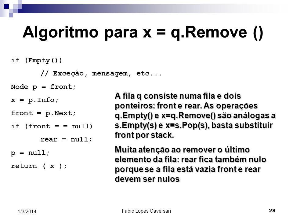 Algoritmo para x = q.Remove ()