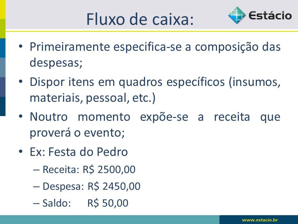 Fluxo de caixa: Primeiramente especifica-se a composição das despesas;