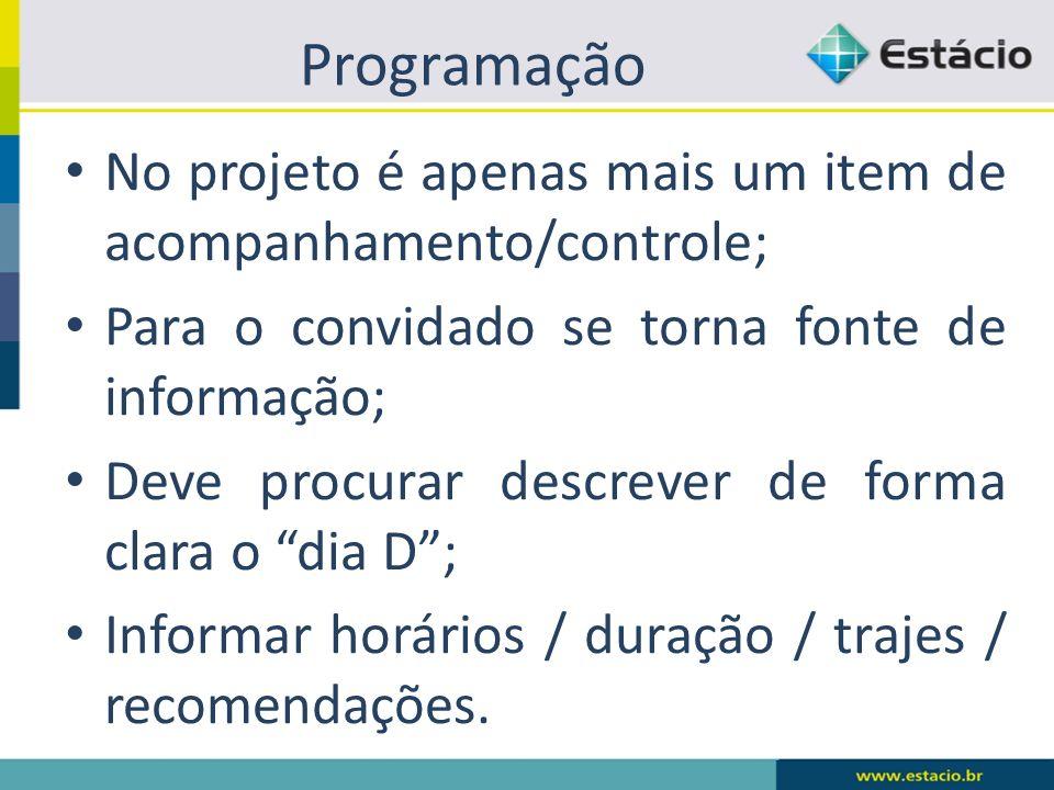 Programação No projeto é apenas mais um item de acompanhamento/controle; Para o convidado se torna fonte de informação;