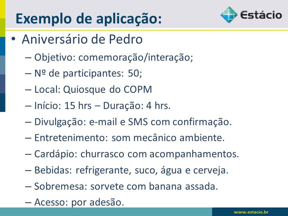 Exemplo de aplicação: Aniversário de Pedro