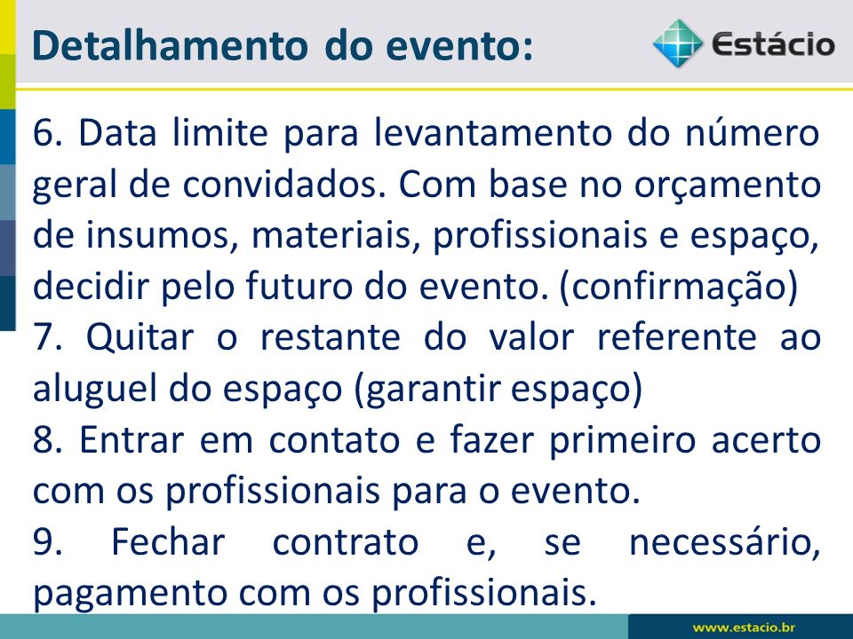 Detalhamento do evento: