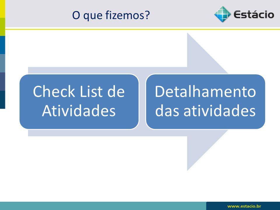 Check List de Atividades Detalhamento das atividades