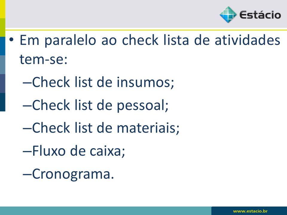 Em paralelo ao check lista de atividades tem-se: