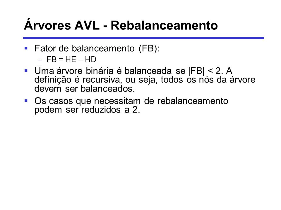 Árvores AVL - Rebalanceamento