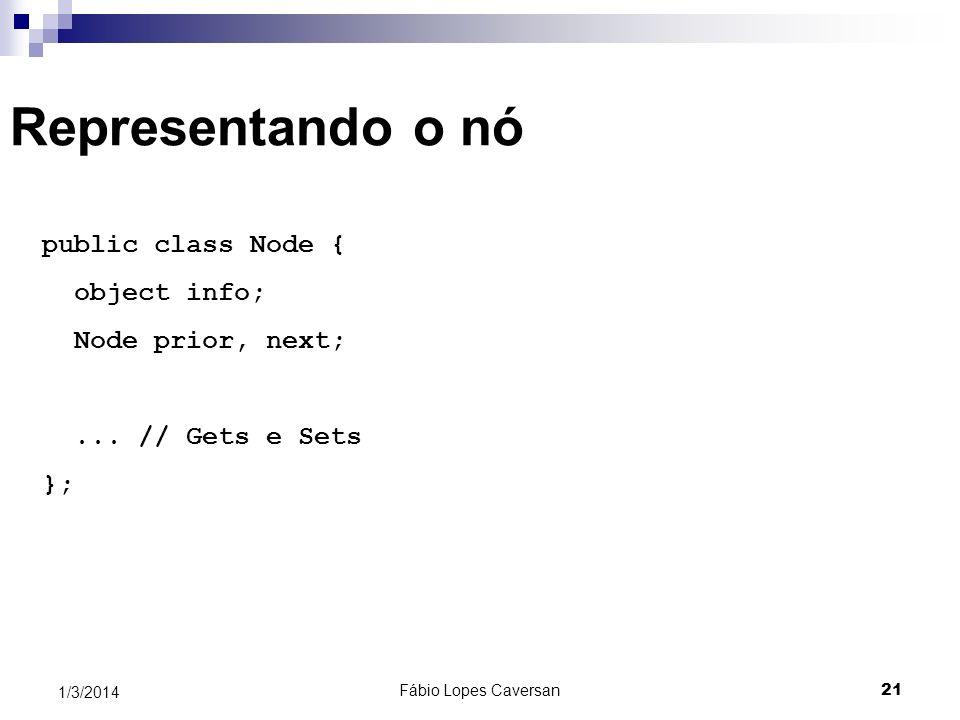 Representando o nó public class Node { object info; Node prior, next;