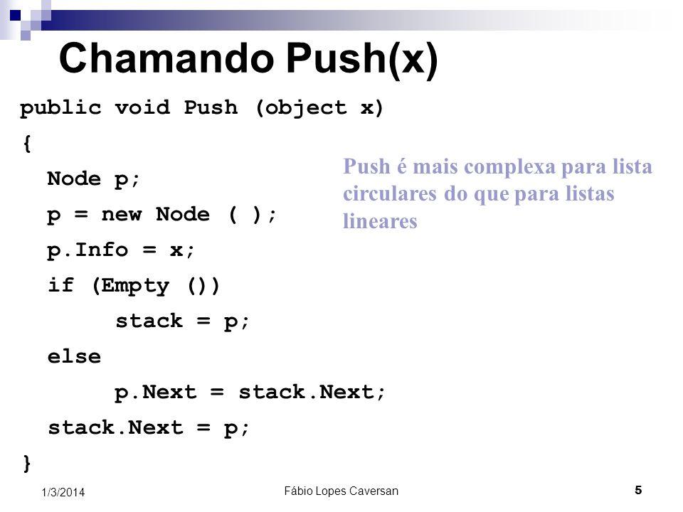 Chamando Push(x) public void Push (object x) { Node p;