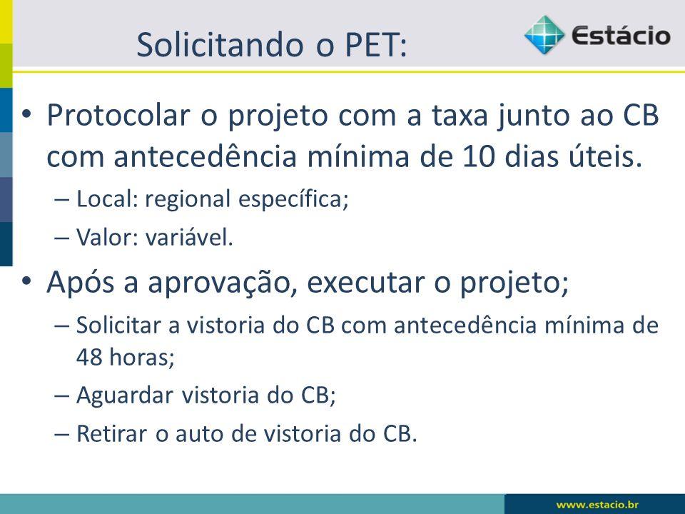 Solicitando o PET: Protocolar o projeto com a taxa junto ao CB com antecedência mínima de 10 dias úteis.