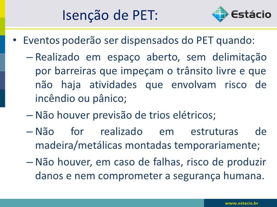 Isenção de PET: Eventos poderão ser dispensados do PET quando: