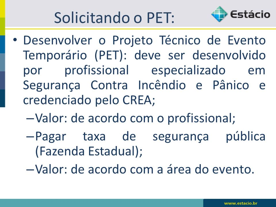 Solicitando o PET: