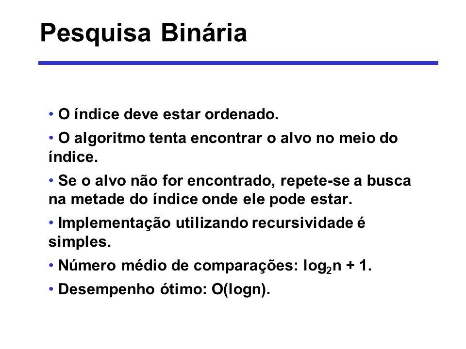 Pesquisa Binária O índice deve estar ordenado.