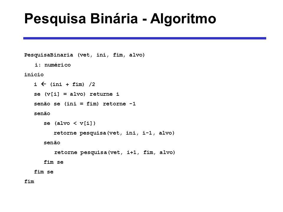 Pesquisa Binária - Algoritmo