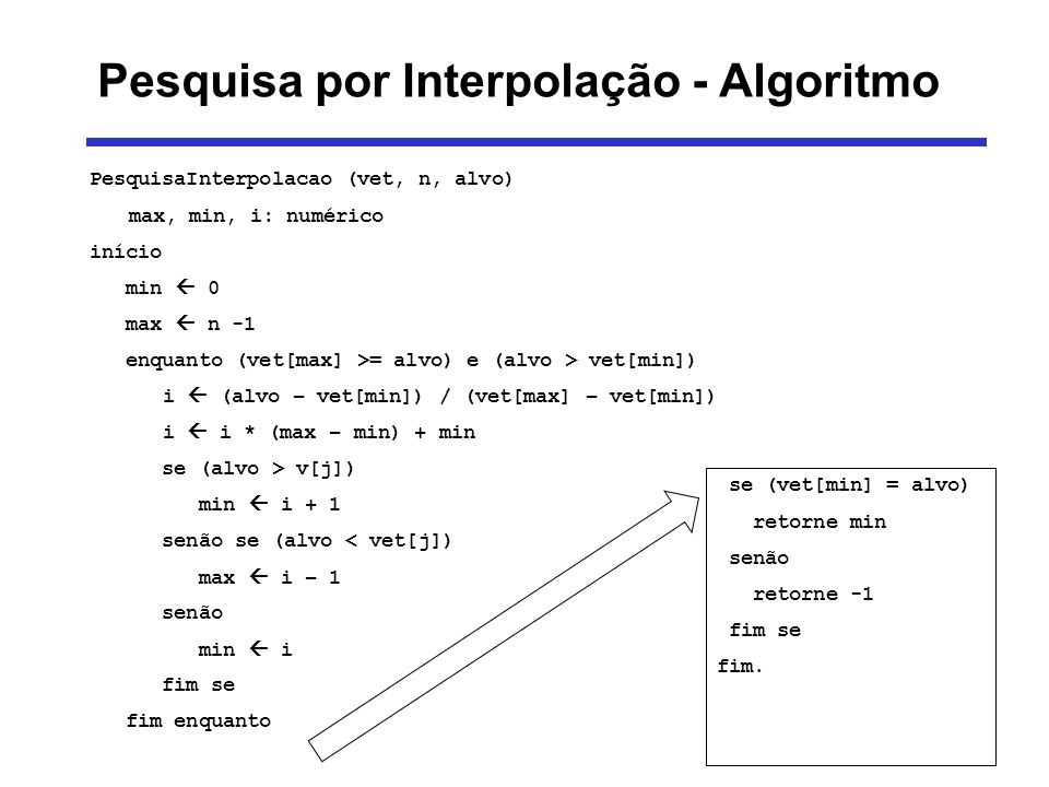 Pesquisa por Interpolação - Algoritmo