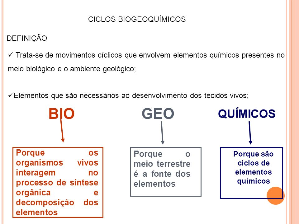 Porque são ciclos de elementos químicos