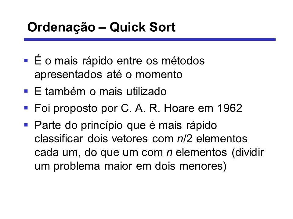 Ordenação – Quick Sort É o mais rápido entre os métodos apresentados até o momento. E também o mais utilizado.