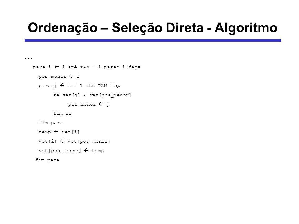 Ordenação – Seleção Direta - Algoritmo