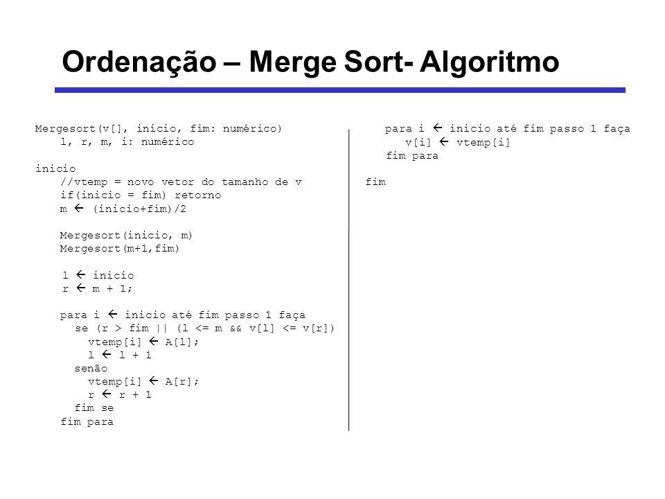 Ordenação – Merge Sort- Algoritmo