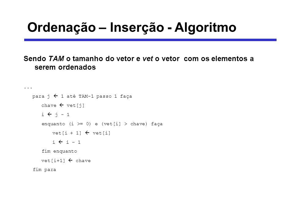 Ordenação – Inserção - Algoritmo