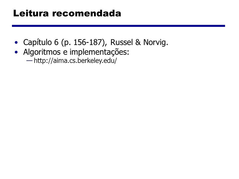 Leitura recomendada Capítulo 6 (p. 156-187), Russel & Norvig.