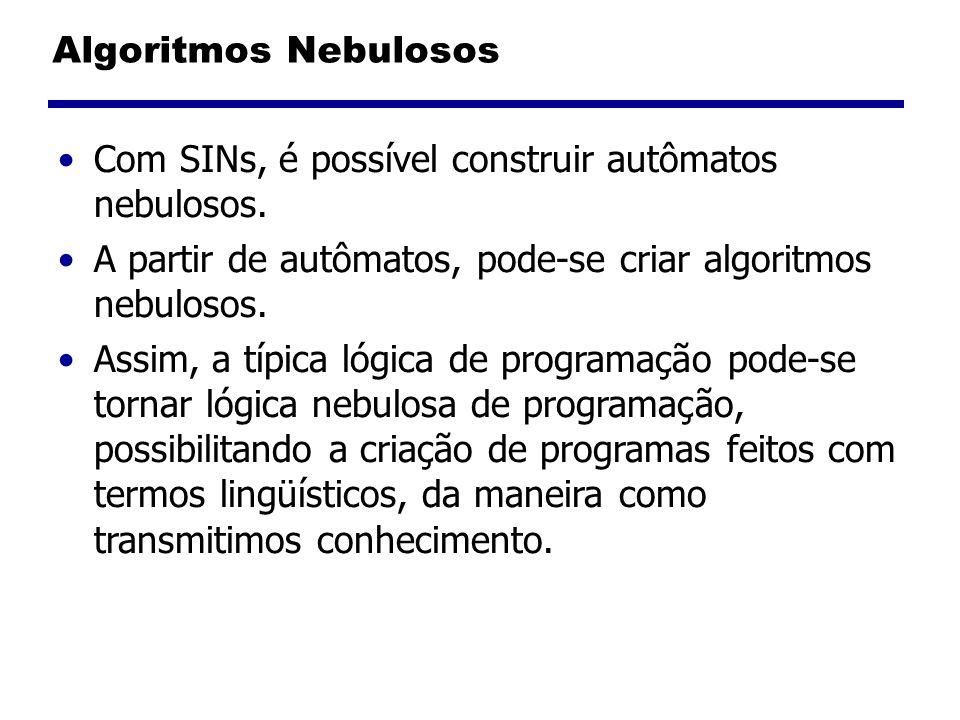 Algoritmos Nebulosos Com SINs, é possível construir autômatos nebulosos. A partir de autômatos, pode-se criar algoritmos nebulosos.