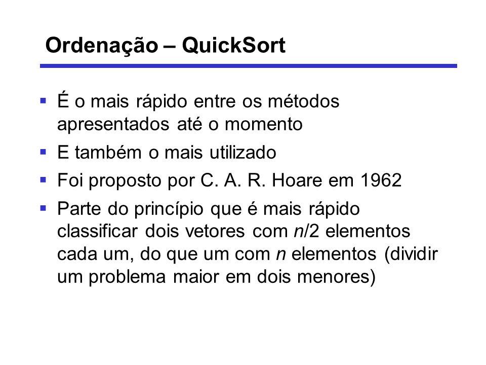 Ordenação – QuickSort É o mais rápido entre os métodos apresentados até o momento. E também o mais utilizado.