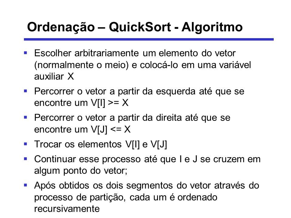 Ordenação – QuickSort - Algoritmo