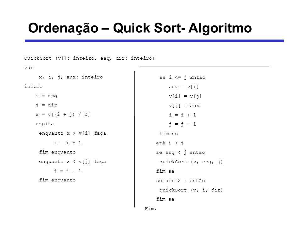 Ordenação – Quick Sort- Algoritmo