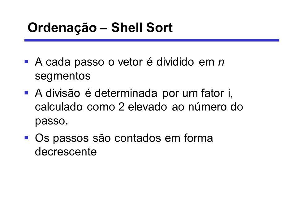 Ordenação – Shell Sort A cada passo o vetor é dividido em n segmentos