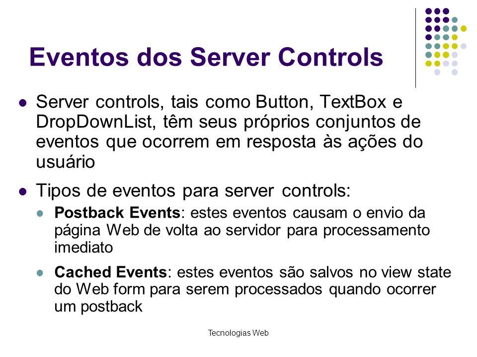 Eventos dos Server Controls