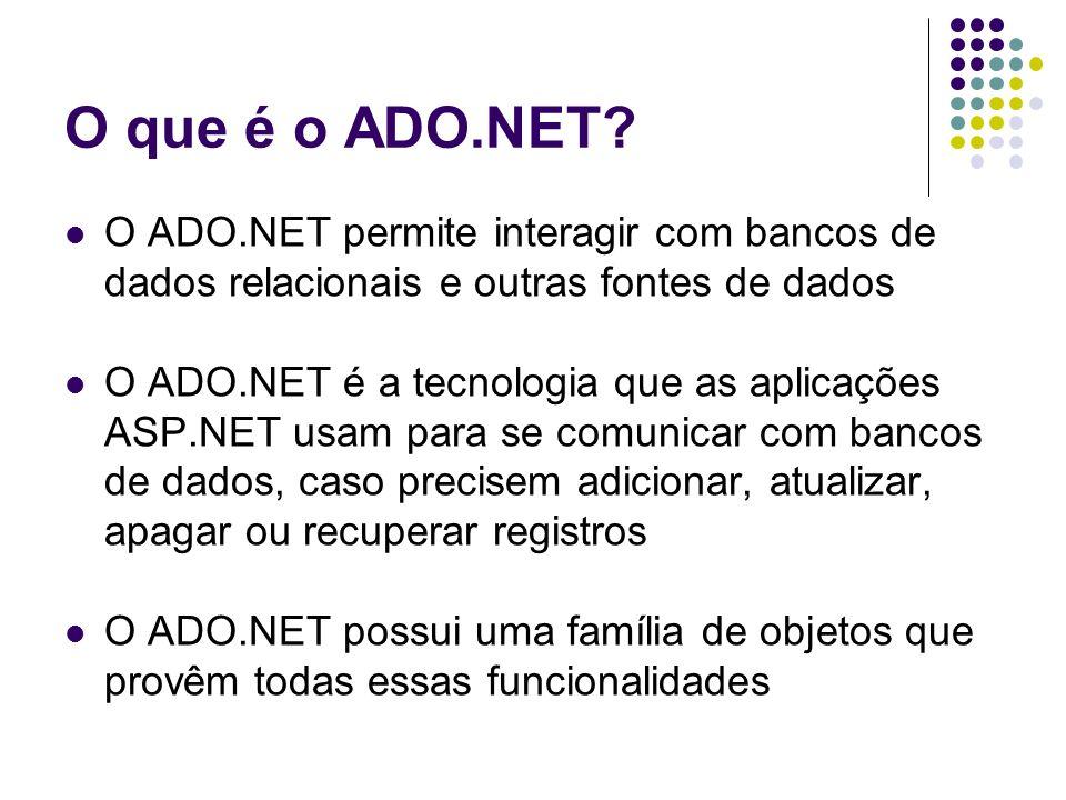 O que é o ADO.NET O ADO.NET permite interagir com bancos de dados relacionais e outras fontes de dados.